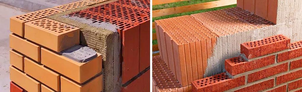 Облицовка стен из керамических блоков кирпичом